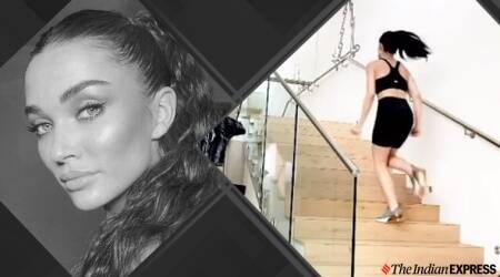 amy jackson, amy jackson workout, amy jackson fitness, fitness goals, home workouts, quarantine, social distancing, singh is bliing, stairs, workout on stairs, workout on steps, how to make use of your home set-up, indianexpress.com, indianexpress, stair exercises, how to do exercises on stairs,