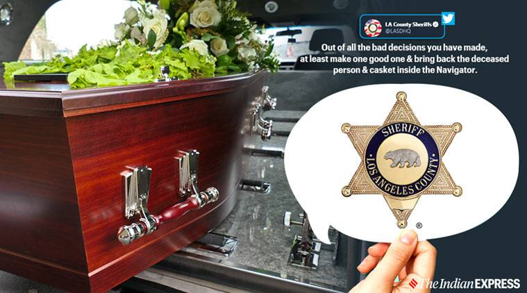 Hearse theft, Hearse with corpse stolen, Car with dead body stolen, Los Angeles County sheriff, Los Angeles police department Twitter, Los Angeles, Trending, Indian Express news