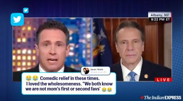 new york gov cnn host sibling banter on air, cuomo brother on air banter, news anchor governor mom favourite son fight, new york coronavirus, viral videos, funny news, on air funny moments, indian express