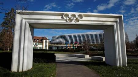 The Olympic rings are pictured in front of the International Olympic Committee