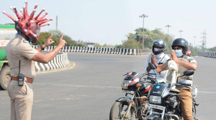 This Chennai cop's Corona Helmet is quite scary, but helps in raising awareness