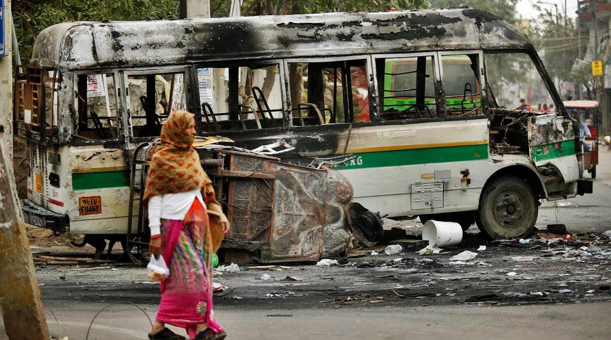 Delhi news, Delhi riots, Delhi police, Delhi buses burnt during riots, Delhi metro riots, delhi riots chargesheet, delhi riots metro damage,