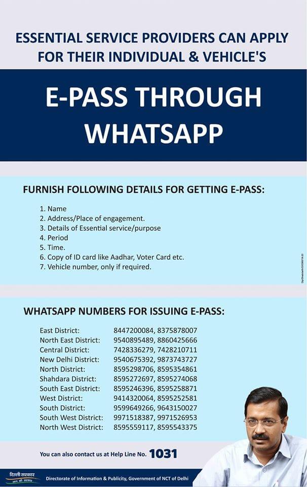 Coronavirus curfew, Curfew ePass, Delhi government ePass, ePass on WhatsApp, ePass WhatsApp, ePass on WhatsApp