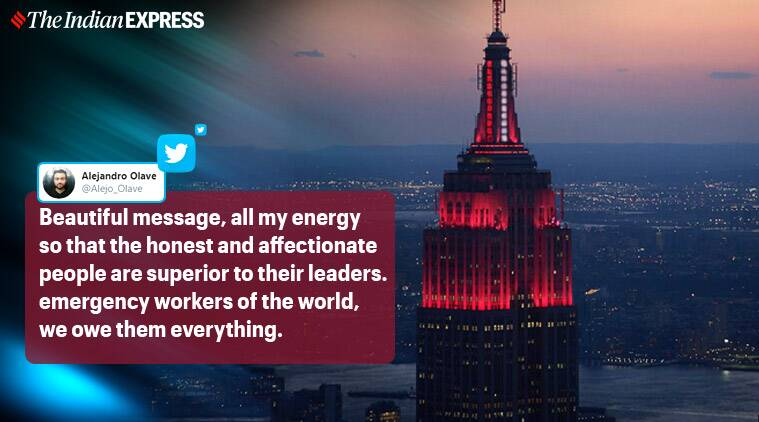 New York's Empire State Building lights up to celebrate medical practitioners