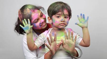 playing Holi, Holi hair and skincare for children, safe Holi for kids, parenting, indian express, indian express news