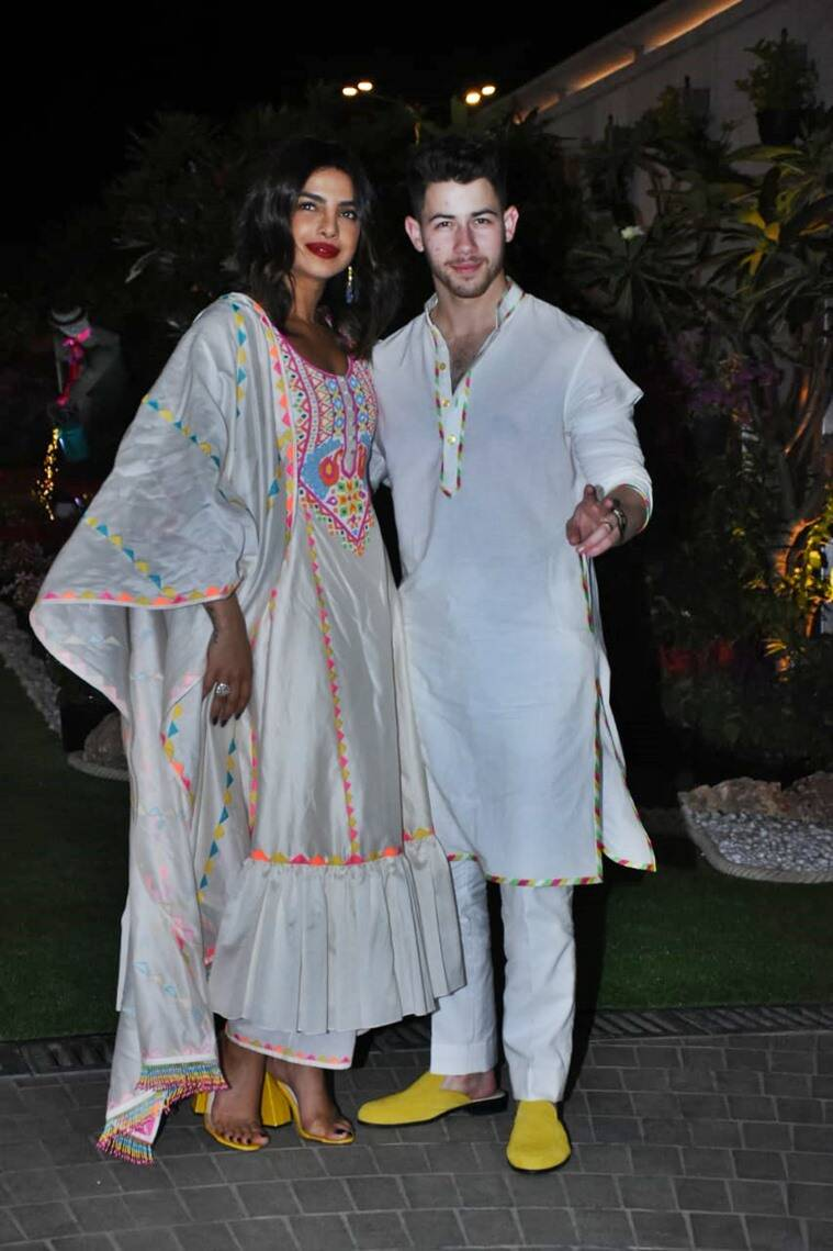Priyanka Chopra Nick Jonas, Priyanka Chopra Nick Jonas latest photos, Priyanka Chopra Nick Jonas holi 2020, Priyanka Chopra Nick Jonas holi photos, Nickyanka, indian express news