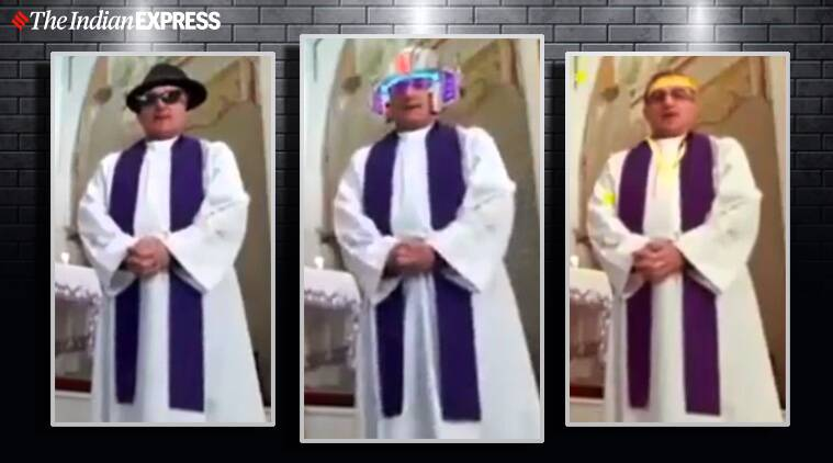 italy coronavirus, italy lockdown, italy parish livestream services, priest turn on filter during livestreaming, italian priest funny filter livestreaming mass, viral video, funny videos, indian express