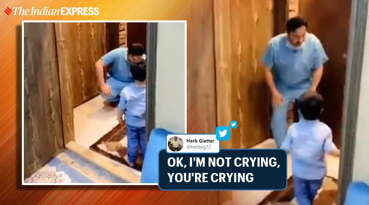 Watch: Doctor returns home from work, stops son from hugging him, then breaks down