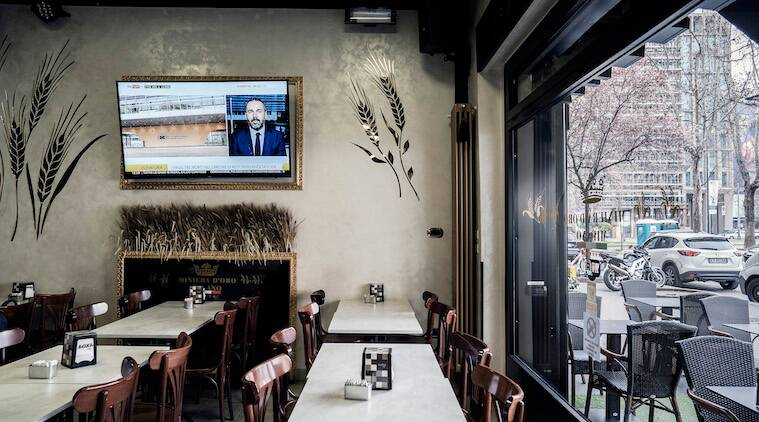An empty restaurant in Milan on Thursday, March 19, 2020