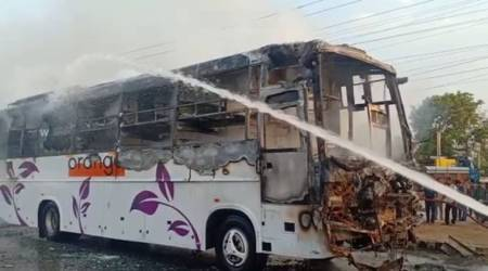 Hyderabad: Narrow escape for 26 passengers after sleeper bus goes up in flames in BHEL Township