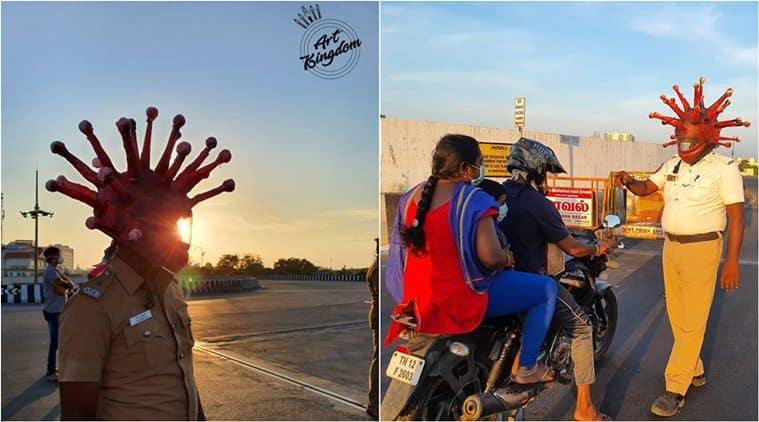 coronavirus, coronavirus india, coronavirus police awareness initiative, chennai police coronavirus helmet, corona helmet chennai artist, chennai news, tamil nadu news, chennai coronavirus update, indian express,
