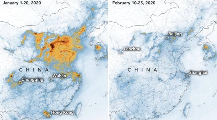 Coronavirus, Coronavirus death toll, Coronavirus China, Nitrogen Dioxide China, Nitrogen Dioxide levels over China, NASA, World news, Indian Express