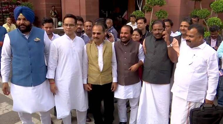 Parliamnent budget session, Modi government, Lok Sabha, seven Congress lawmakers suspended, congress mps suspended, lok sabha, meenakshi lekhi, coronavirus remark on sonia gandhi, indian express news