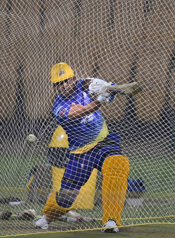 CSK Skipper MS Dhoni at Practice session