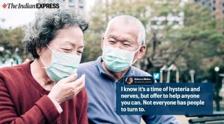 coronavirus, coronavirus elderly couple groceries, coronavirus usa, coronavirus good news, woman helps shopping elderly couple, viral news, indian express