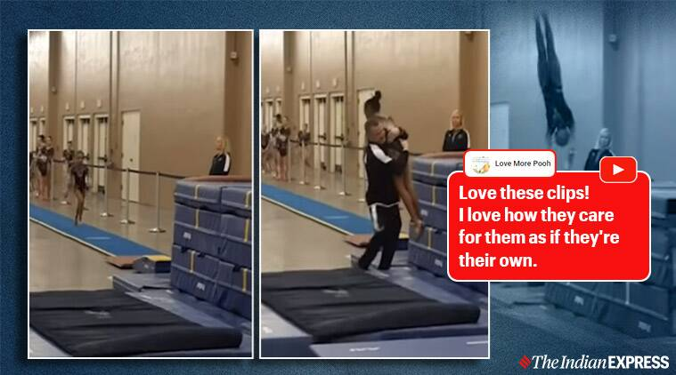 Gymnast, coach saves gymnast from falling, Gymnast falling video, Coach saves young gymnast, Tennessee, Trending, Indian Express news