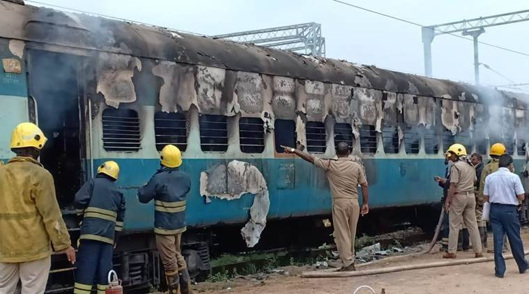 Hyderabad: Train compartment gutted in fire, arson suspected
