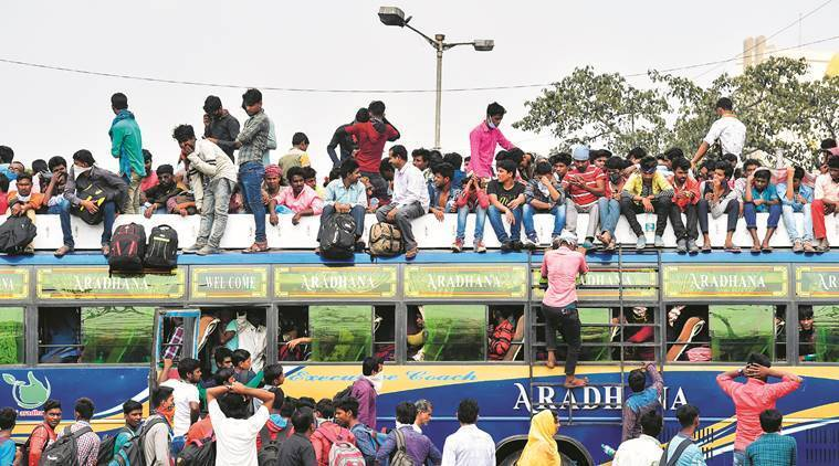 Migrant workers rush home, coronavirus outbreak, statewide lockdow, curfew, indian express news