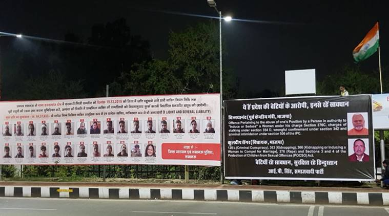 lucknow hoardings, lucknow anti caa protesters hoardings, lucknow kuldeep singh sengar hoardings, Chinmayanand lucknow hoarding, lucknow city news