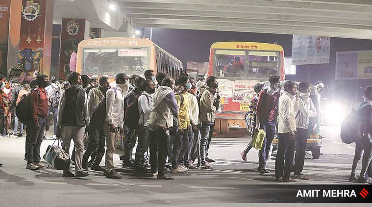 Amid lockdown, late night rush sees a packed bus depot in Delhi