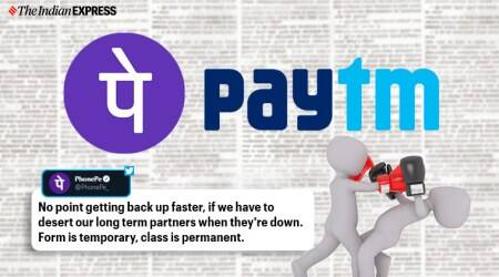 Paytm, PhonePe, Yes Bank, Paytm and PhonePe, Paytm and PhonePe twitter fight, Paytm and PhonePe on Twitter, Paytm and PhonePe twitter war, Yes Bank crisis, Yes Bank  moratorium notice, Reserve bank of India, RBI restriction on Yes Bank, Trending, Indian Express news