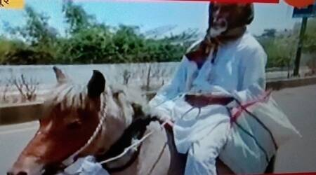 india lockdown, man rides horse, ailing wife, medicine, pune news, indian express news