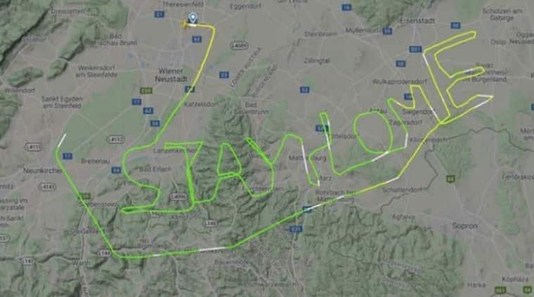Pilot, Austrian pilot coronavirus message, Austrian pilot flight radar message, pilot's stay home message on flight radar, Austrian pilot ariel message, Austria, Trending news, Indian Express news