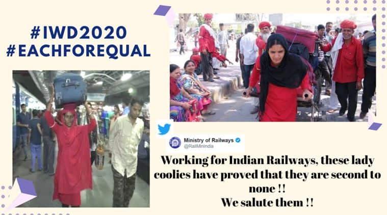 women's day, indian railways, women coolies, railways female coolies, indian railways female coolies, viral news, indian express