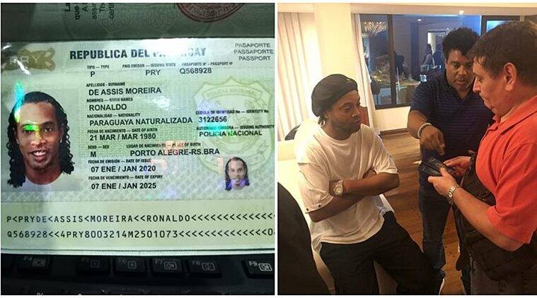 Image result for Ronaldinho arrested by police for entering Paraguay with a fake passport