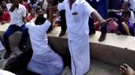 Watch: At smart city project launch, Tamil Nadu minister almost falls into sewage pit
