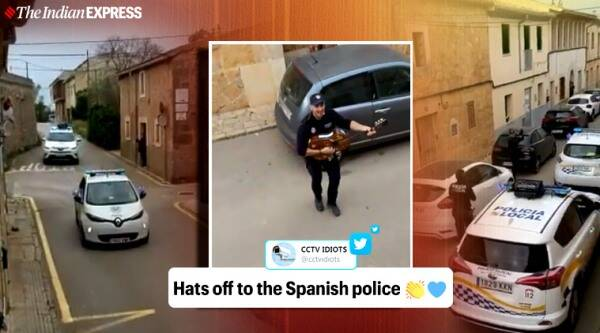 Spanish police department, Spanish police sing and dance to cheer people in quarantine, Spanish police sing and dance on streets, Coronavirus in Spain, Coronavirus lockdown in Spain, Covid-19 in Spain, Coronavirus, Coronavirus pandemic, Trending news, Indian Express news