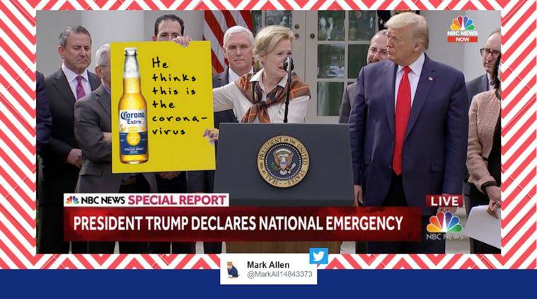 us coronavirus national emergency, us coronavirus response team, trump coronavirus press conference, trump coronavirus screening flowchart, us coronavirus flowchart memes, viral news, funny news, indian express