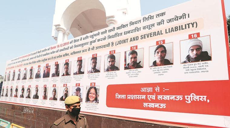 Lucknow CAA protests, UP CAA protests, CAA protests, UP hoardings of CAA protesters, hoardings of CAA protesters in UP, India news, Indian Express