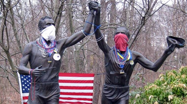The day the running statues donned masks