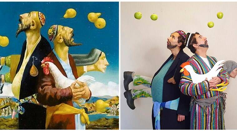 Russia, artwork, isolation art, Russians recreate famous artwork, Coronavirus, Coronavirus pandemic, COVID-19, Trending news, Indian Express news,