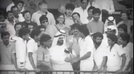 India vs Pakistan Asia Cup 1984, India vs Pakistan 1984 Sharjah, Asia Cup 1984, First Asia Cup, Sunil Gavaskar moustache, Surinder Khanna fifty, Ravi Shastri 3 wickets, Roger Binny 3 wickets, cricket news