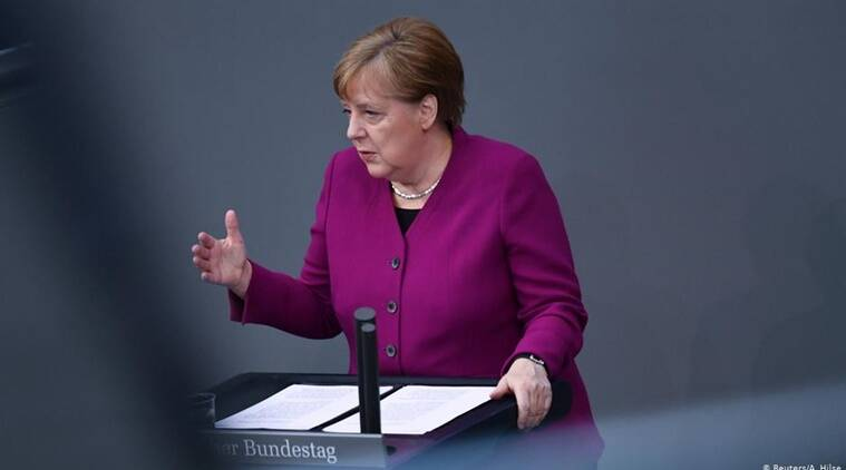 germany Chancellor Angela Merkel, eu hot seat, coronavirus pandemic, berlin, french president emmanuel macron, world news, indian express