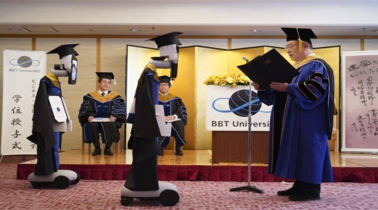 A Japanese university used robots to hold a virtual graduation