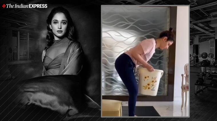 fitness, tamannaah bhatia fitness, household items, indianexpress.com, indianexpress, high pulls, front raises, swings, squat to lunges, swings, tamannaah bhatia news, tamannaah bhatia pics,