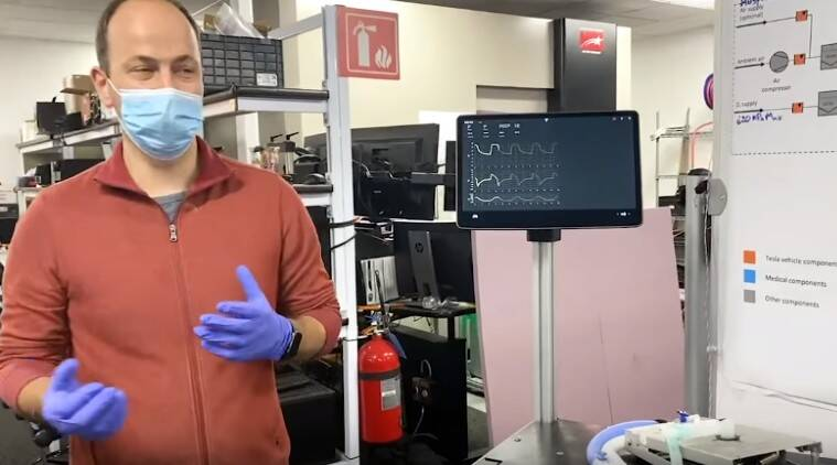 Tesla shows ventilator prototype made from Model 3 parts