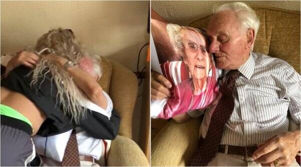 carer gifts cushion with wife photo, nursing home staff gift for veteran, carer gifts man dead wife pic pillow, viral videos, good news, indian express