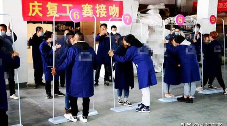 china, china kissing contest, china covid 19, covid 19, coronavirus, china coronavirus cases, trending, indian express, indian express news