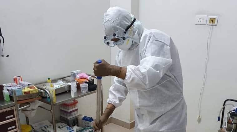 coronavirus, coronavirus infection, jalandhar civil hospital, jalandhar civil hospital protest, jalandhar civil hospital nurses protest, lack of PPE in jalandhar civic hospital, indian express news