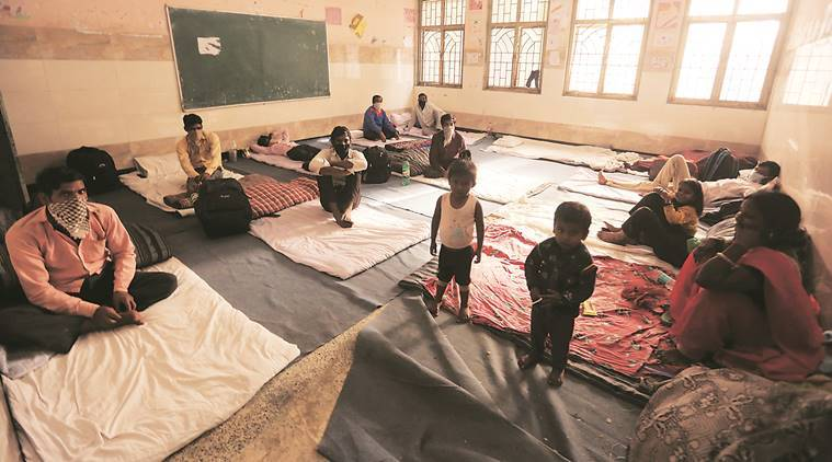 269 city schools double up as relief centres for migrant workers stopped at the border