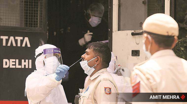 Coronavirus cases, Covid 19 test, Cops test positive, Ahmedabad news, Indian express news