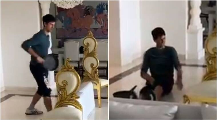 WATCH: Novak Djokovic wins 'pan'tastic rally in his living room tennis court