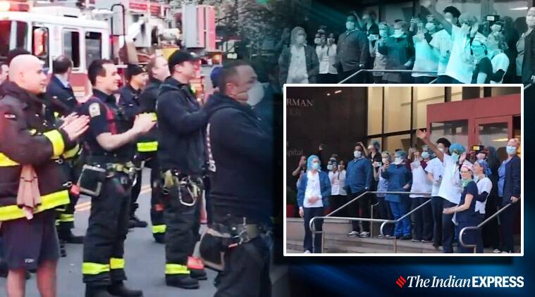 Watch: New York fire department honour medical workers with a round of applause