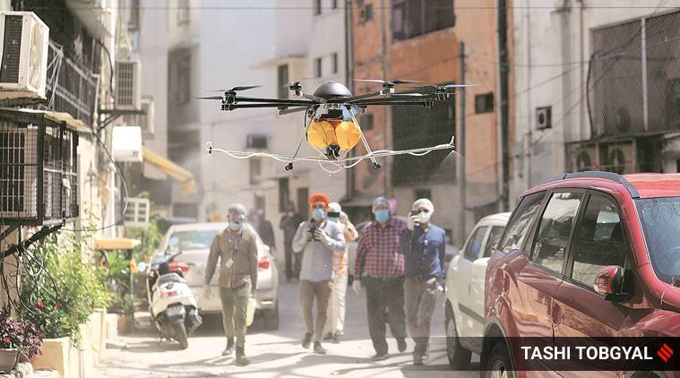 Firemen, drones in action as Nizamuddin is sanitised