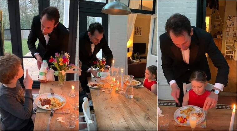 Man hosts 'fine dining' experience for his children, video delights all online