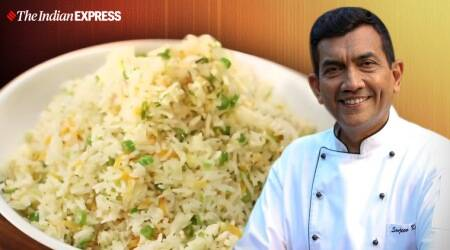 Butter Garlic Vegetable Fried Rice, garlic fried rice, sanjeev kapoor, pure vegetarian recipes, sanjeev kapoor recipes, green garlic recipes, spring garlic, cook at home recipes, lockdown cooking, healthy recipes, indianexpress.com, indianexpress, fried rice recipes, one-pot meals, lockdown, quarantine cooking,